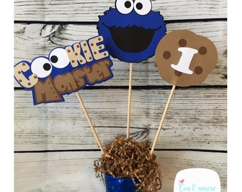 Sesame street cookie monster birthday party decoration centerpiece, cookie monster centerpiece