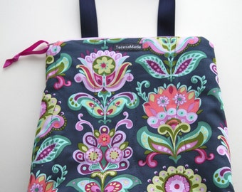 Stand Up Navy Floral Lunch Tote
