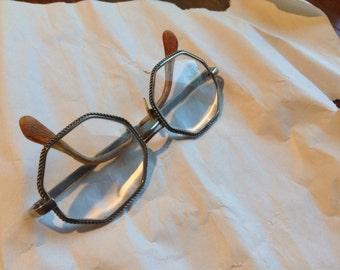 Vintage  Silver framed hexagon glasses bifocals Atlas Optical