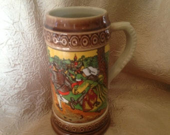 Ceramic Pottery Stein with German Tavern street Scene