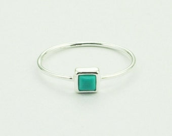Dainty Small Square Turquoise Ring in silver. Hypoallergenic