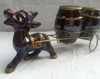 1950s Ceramic Donkey with Cart Salt and Pepper Shakers
