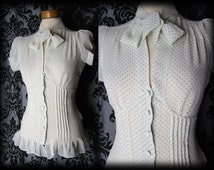 Gothic White Black Sheer Fitted WHIMSICAL Pussy Bow Corset Blouse 8 10 Victorian