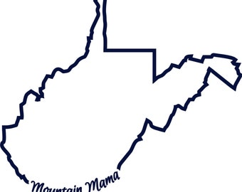 wv west virginia mountain mama state outline svg instant digital download cutting file vector eers