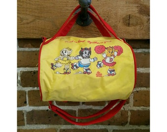 Vintage 1985 The Get Along Gang Yellow Duffel Bag