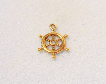 10 ships wheel charms - double sided - gold plated - 20mm x 15mm - gold plated charm - wheel charm - helm charm -ships helm