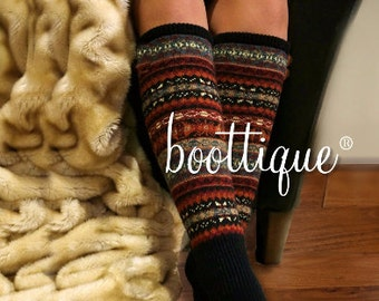 Boot Cozies™ Alpine Nordic Norwegian Leg Warmers/Thigh Highs- Boot Socks, Boot Warmers, Sweater Socks