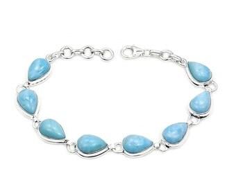 Natural Dominican Larimar Brcelet & .925 Sterling Silver Bracelet Ad878