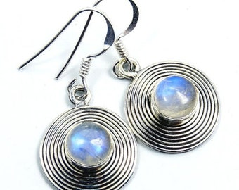 Moonstone & .925 Sterling Silver Dangle Earrings ; S933 gift jewelry