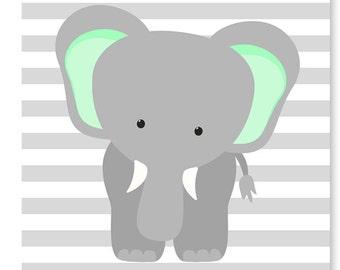 Gray Mint Navy Nursery Art Elephant Nursery Art Giraffe