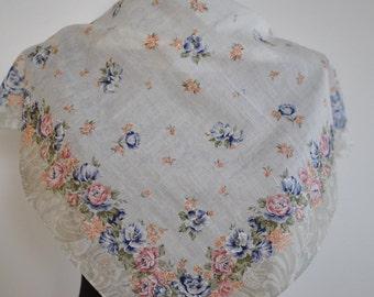 Vintage ELEGANCE PARIS small cotton scarf...(098)