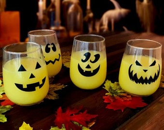 Halloween Jack O' Lantern Stemless Wine Glass Set (4)