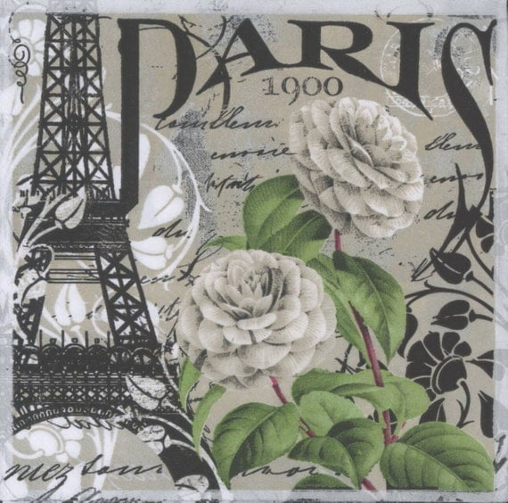 4 Decoupage Napkins Vintage Paris Paris Napkins By Chiarotino