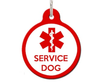 Service Dog Tags, Service Animal Dog ID - Red | FREE Personalization