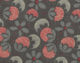 """Moda Quilt Fabric - French General  - Petite Odile - Floral Print Dark Faded Denim Background 13615-14 - 45"""" x 45"""""""