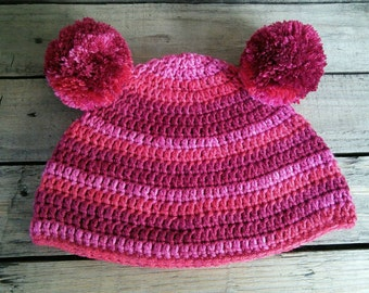Red and Pink striped soft silky beanie hat with pom-pom ears
