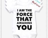 I am the force or  biker or Omg Im Cute or HEAVEN Moon  Stars nanny etc 1x bodysuit or 1x Tshirt or 2x white bibs or design your own