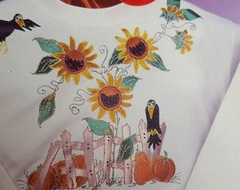New Glitzy Shirts Iron-On Applique Kit 44119 Sunflowers & Crows FUS-O-BOND