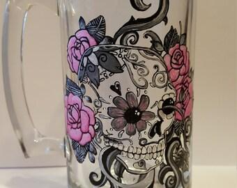Sugar Skull, Hand Painted Beer Mug, Dia De Los Muertos, Sugar Skull Gifts, Sugar Skull Art, Day Of The Dead, Sugar Skulls, 21st Birthday