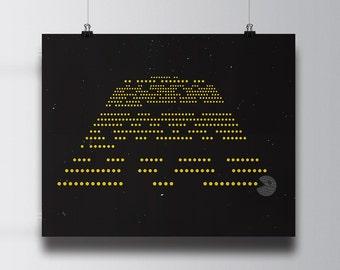 Pac Wars, A Long Time In An Arcade Machine Far Far Away, Pac Man, Star Wars unique poster on satin 80lb coverstock, 16x20 print, fun