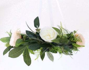 Flower mobile, floral baby mobile, ivory and blush garden roses, bohemian flower mobile, nursery decor, baby mobile, flower chandelier
