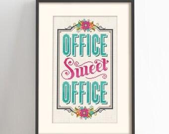 Office Sweet Office - Cross Stitch Pattern (Digital Format - PDF)