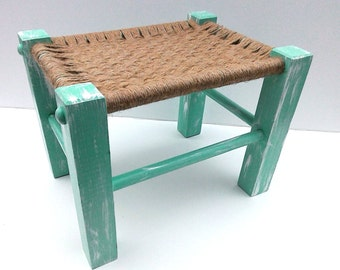 Mint Woven Foot Stool