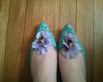 Handmade Fabric Pansy shoe clips