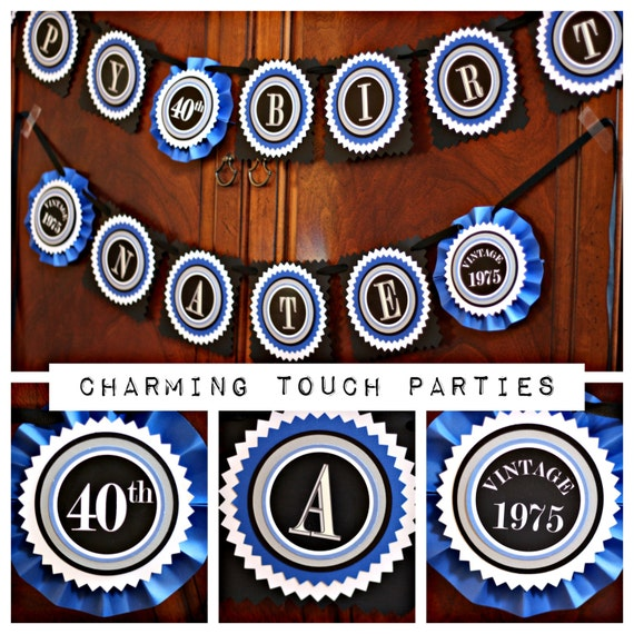40th BIRTHDAY PARTY BANNER 40th Party Decorations Modern