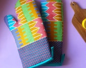 African Print Oven Mitts, Christmas Gift, Hostess Gift, Oven Gloves in Pair, Kitchen Accessories & Homeware (more colours available)