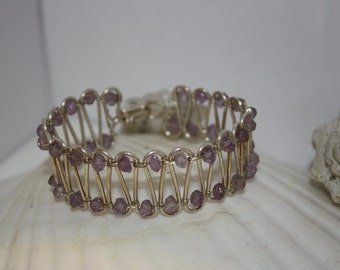 Fine Silver Amethyst Loop Bracelet