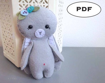 Felt Bunny Pattern - Rabbit Sewing Pattern - PDF Pattern