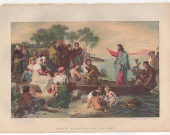 Christ Preaching on the Lake Chromolithograph 1888 Sunday at Home #00167