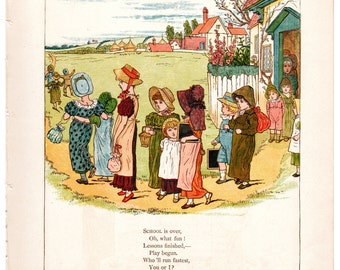 Kate Greenaway chromolithograph School is over /Little Polly, will you go a-walking c1880 wall childrens nursery art #00006