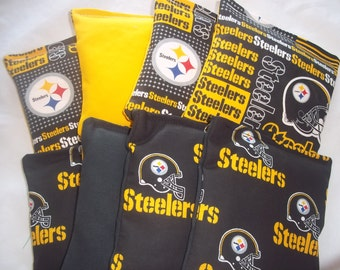 8 ACA Regulation Cornhole Bags - 8 handmade from NFL Pittsburgh Steelers Fabric - 2 Different Prints