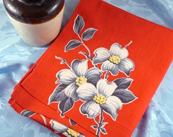 Vintage Red Toweling, Dogwood Blossoms, 1950's Towel Fabric, 2-1/3 Yards, Cotton Toweling, Mid Century, Cottage, Farmhouse, 4 Available