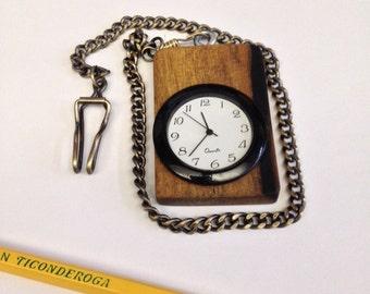 Black & White Ebony Pocket Watch