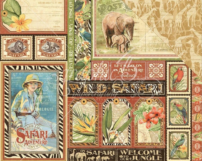 2 Sheets of SAFARI ADVENTURE Scrapbook Paper by Graphic 45 - Amazing Africa