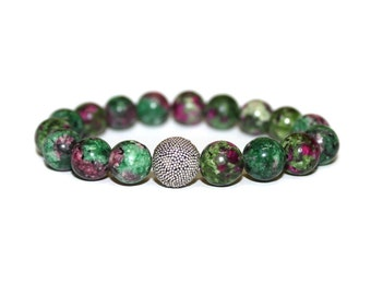 Beaded Bracelet for Woman, Gift for Her, Ruby Zoisite and Sterling Silver Bead Bracelet. Woman Bracelet, Beaded Bracelet, Gift for Woman