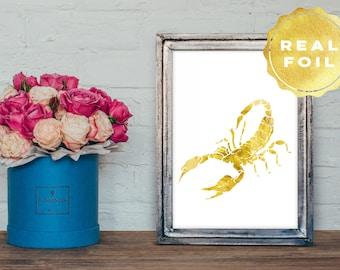 Real Gold Foil Scorpion Art 4x6 - 5x7 - Scorpion Print - Scorpion Decor - Scorpio Decor - Modern Chic Decor - Minimalist Art