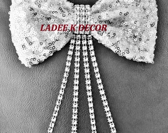 Sequin Hair Bow, Silver Bow, Silver Sequin Bow
