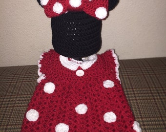 Crochet Infant Minnie Mouse Hat and Dress Set Costume Photo Prop
