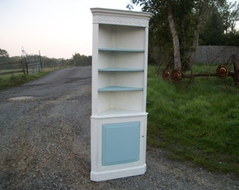 Vintage Painted Shabby Chic Corner Cupboard Shelves Adjustable Shelves