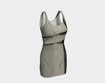 Gray Fitted Dress/A Spiders Life Dress/Stone Gray/Bodycon Dress/Slate Gray Dress/Made to Order/Halloween Dress