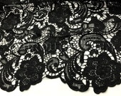 English Lace in Black - Lace Fabric with Floral Embroidered Design Throughout - Great For Weddings, Bridal Parties, and Special Events