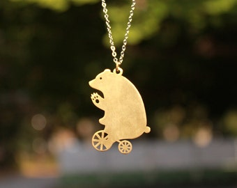The bike riding Bear says hi / Necklace in brass