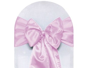 YCC Linen - Pink Satin Chair Sashes (Pack of 10) | Wedding Chair Sashes