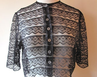 1950s Cropped Sheer Lace Shirt