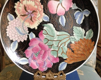 Black Chinoiserie Flower Plate