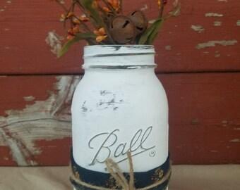 Fall Decor ~ Fall Mason Jar ~ Rustic Decorations ~White Mason Jar~Fall Jar